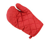 Kitchen red potholder in the form of gloves
