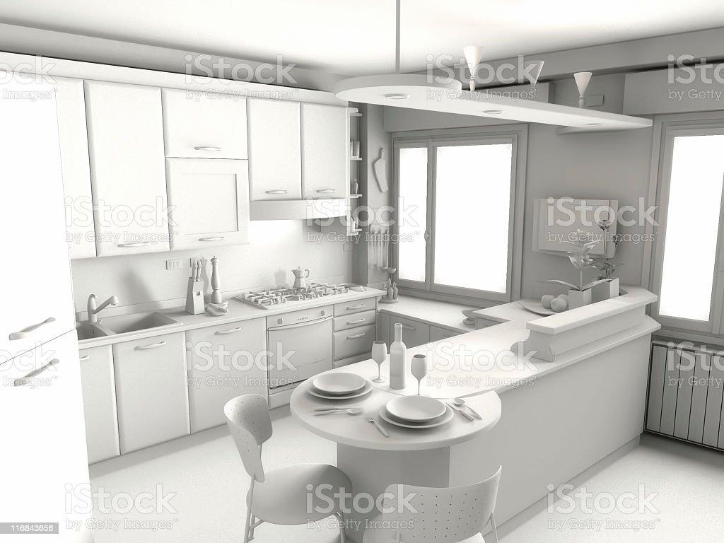 Kitchen render royalty-free stock photo