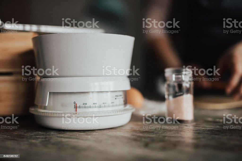 Kitchen scale for measuring stock photo