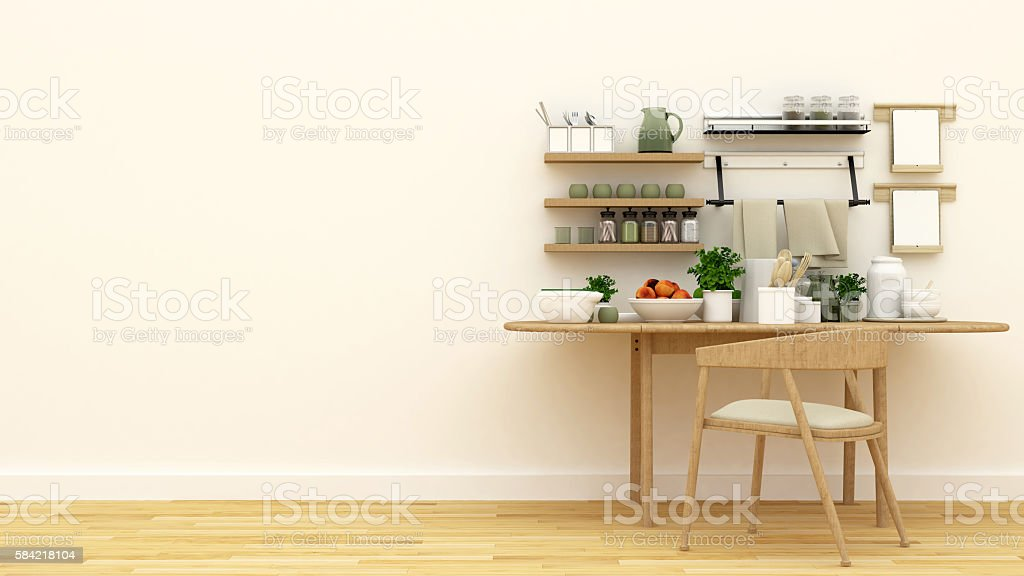 kitchen set in pantry - 3d rendering stock photo