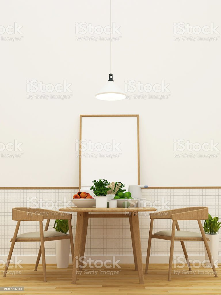 kitchen set in pantry area and dining area - 3d rendering stock photo