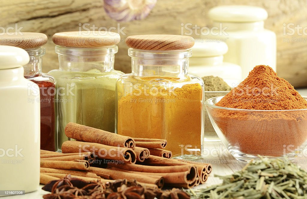 Kitchen spices and herbs stock photo