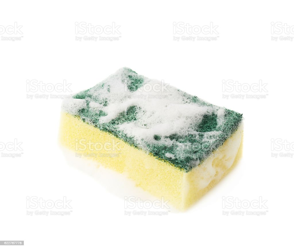 Kitchen sponge covered with foam stock photo