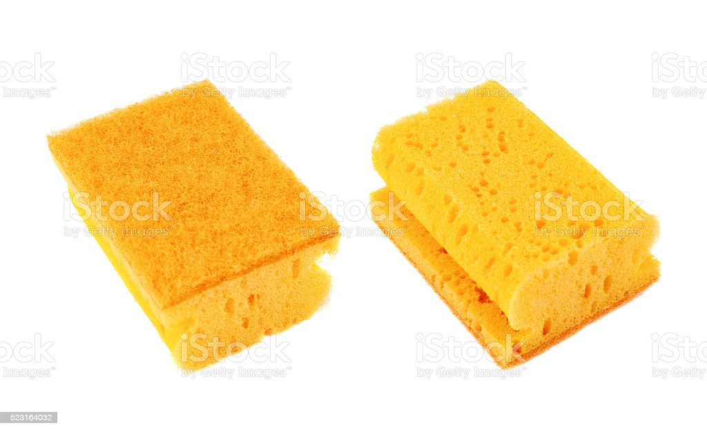 Kitchen sponge front and back view stock photo