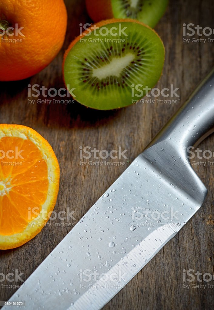 Kitchen stainless knife stock photo
