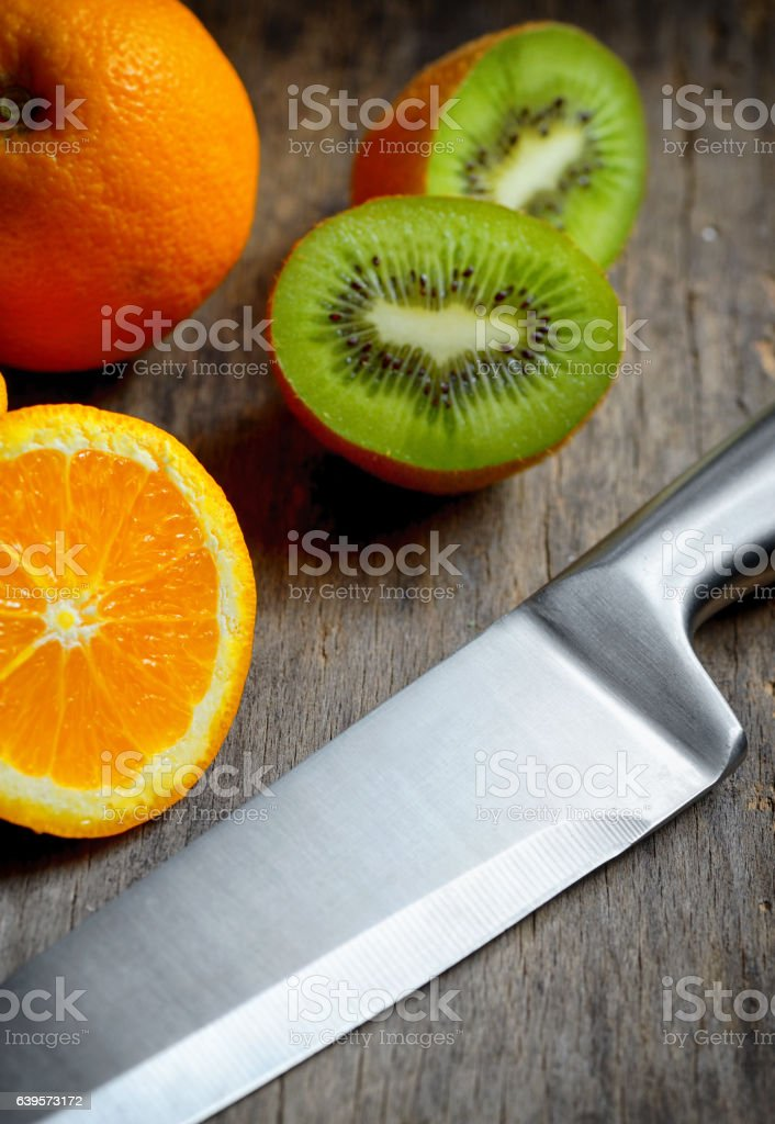 Kitchen stainless steel knife stock photo