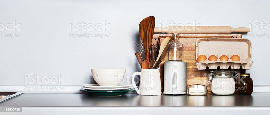 Kitchen Still life as background for Design. Rustic Dishes stock photo