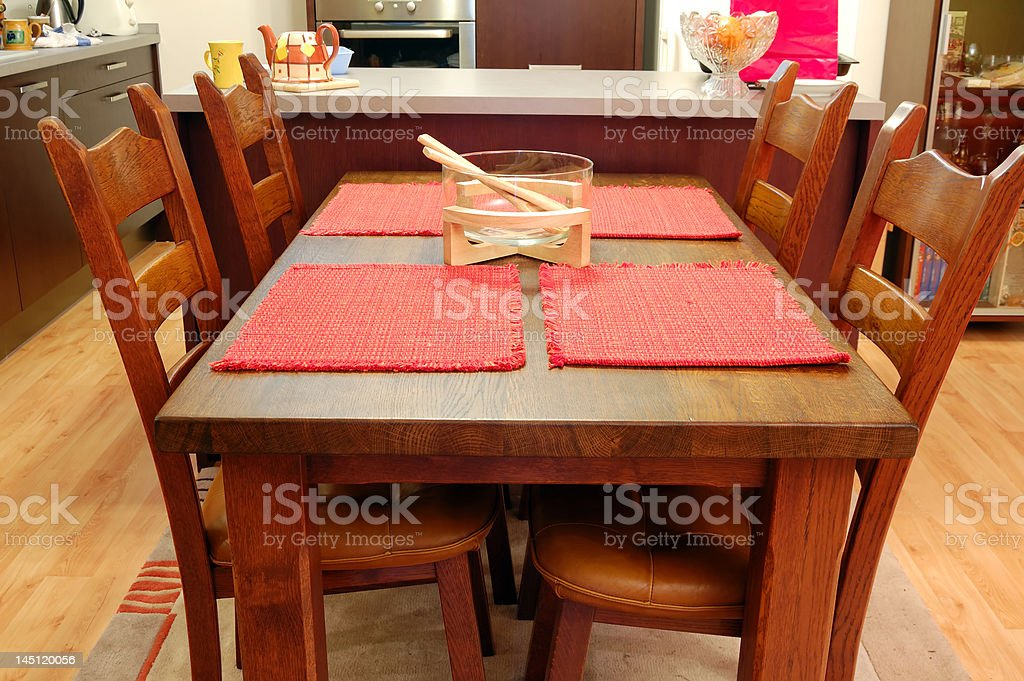 Kitchen table and chairs stock photo