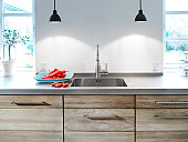 Kitchen table and sink