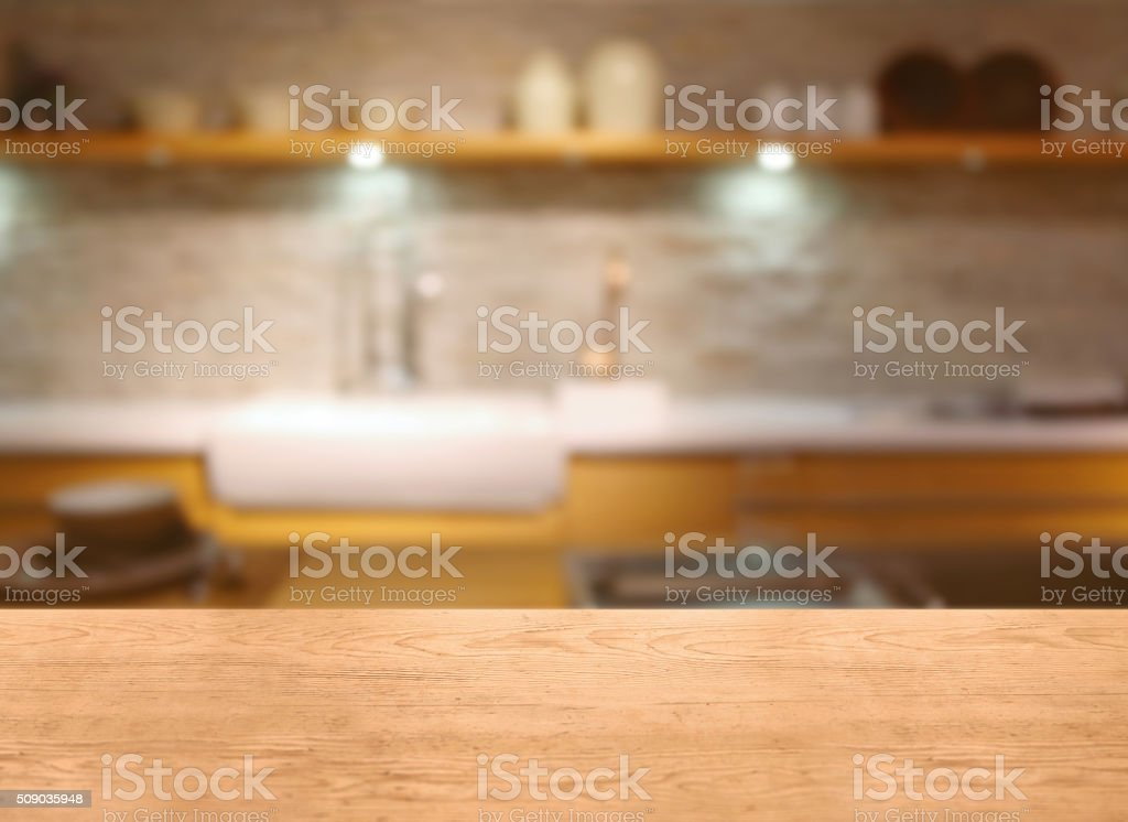 Kitchen table detail with blurred background, home interior stock photo