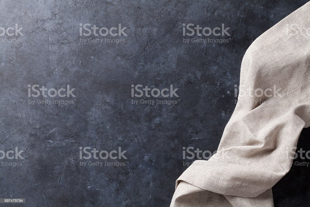 Kitchen table with towel stock photo