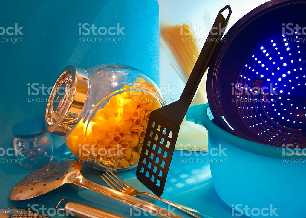 Kitchen tools and pasta royalty-free stock photo