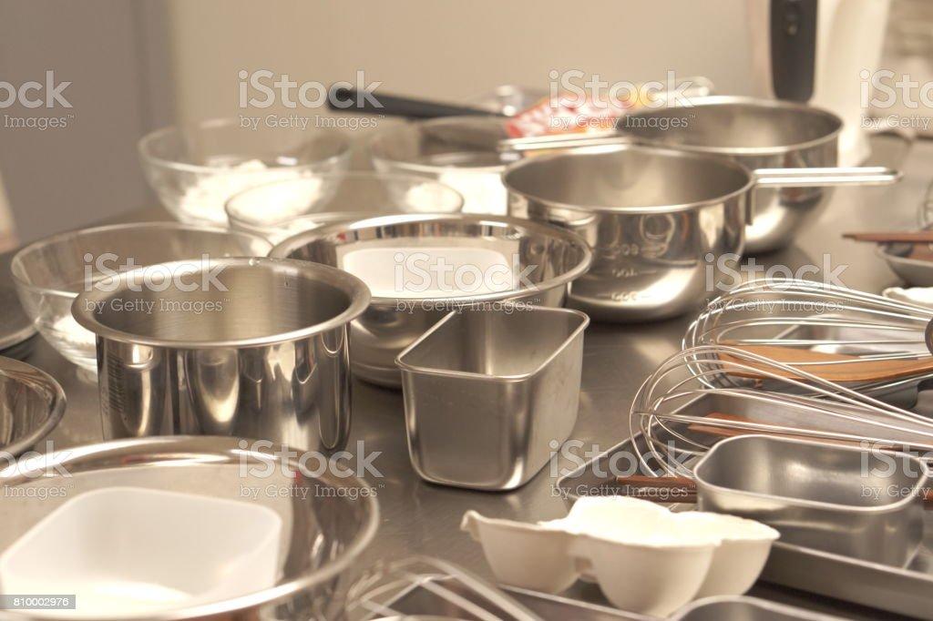Kitchen tools in open kitchen stock photo
