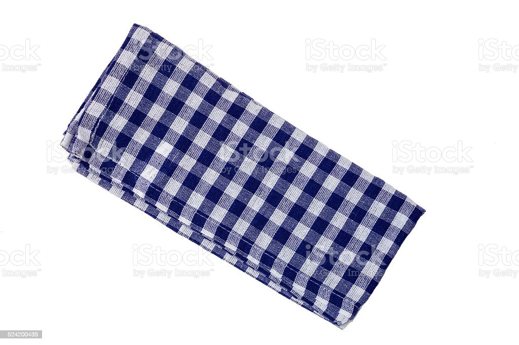 Kitchen towel blue white isolated as Cut stock photo