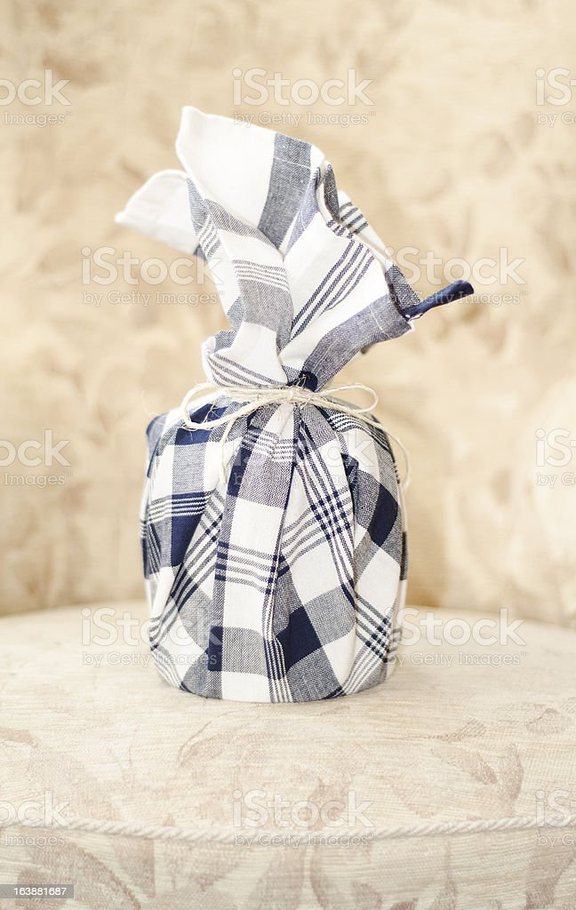 Kitchen towel gift wrapping royalty-free stock photo