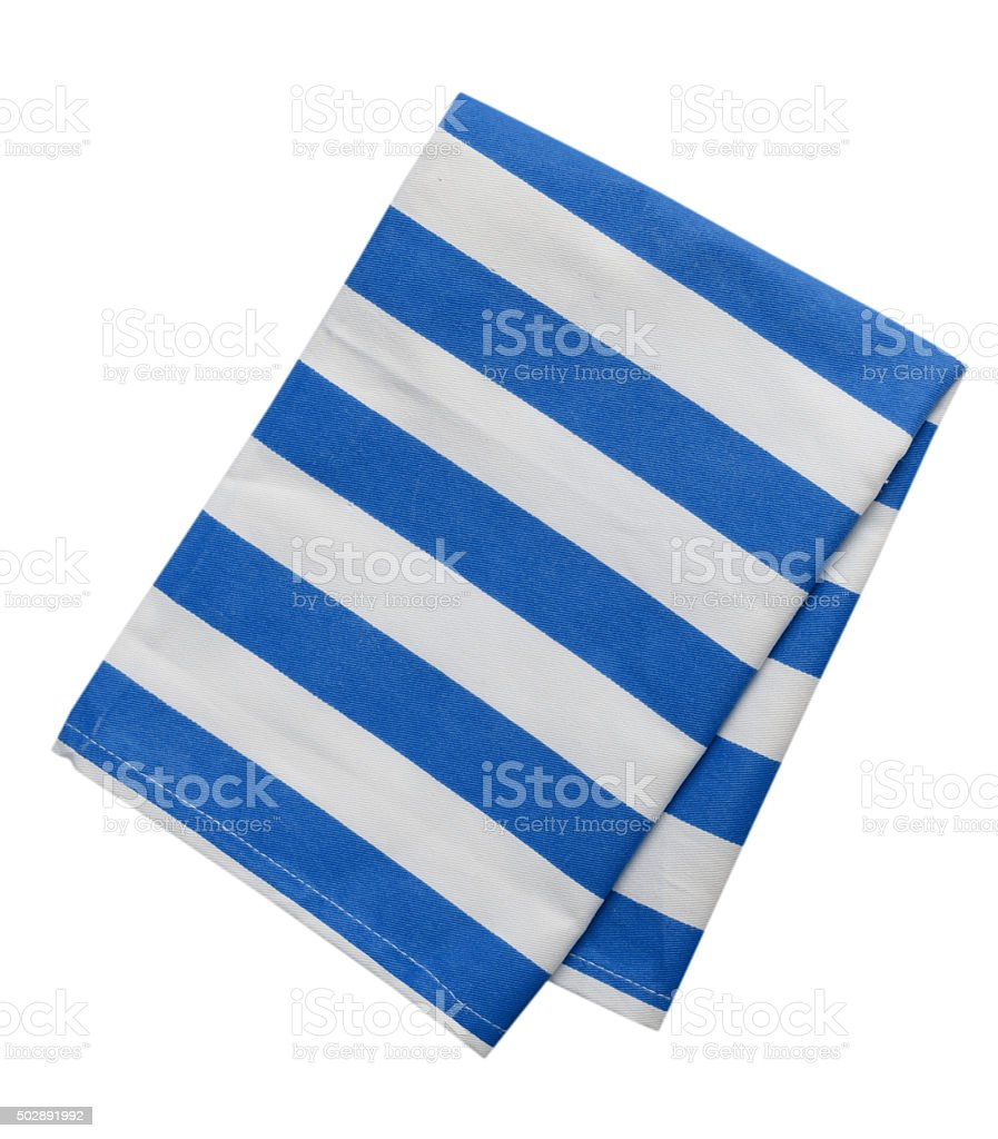 Kitchen towel striped cloth set isolated. stock photo