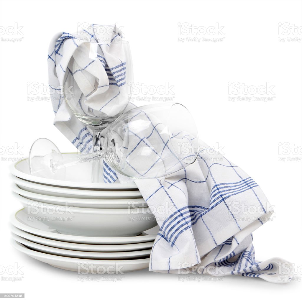 kitchen towels with dishes stock photo