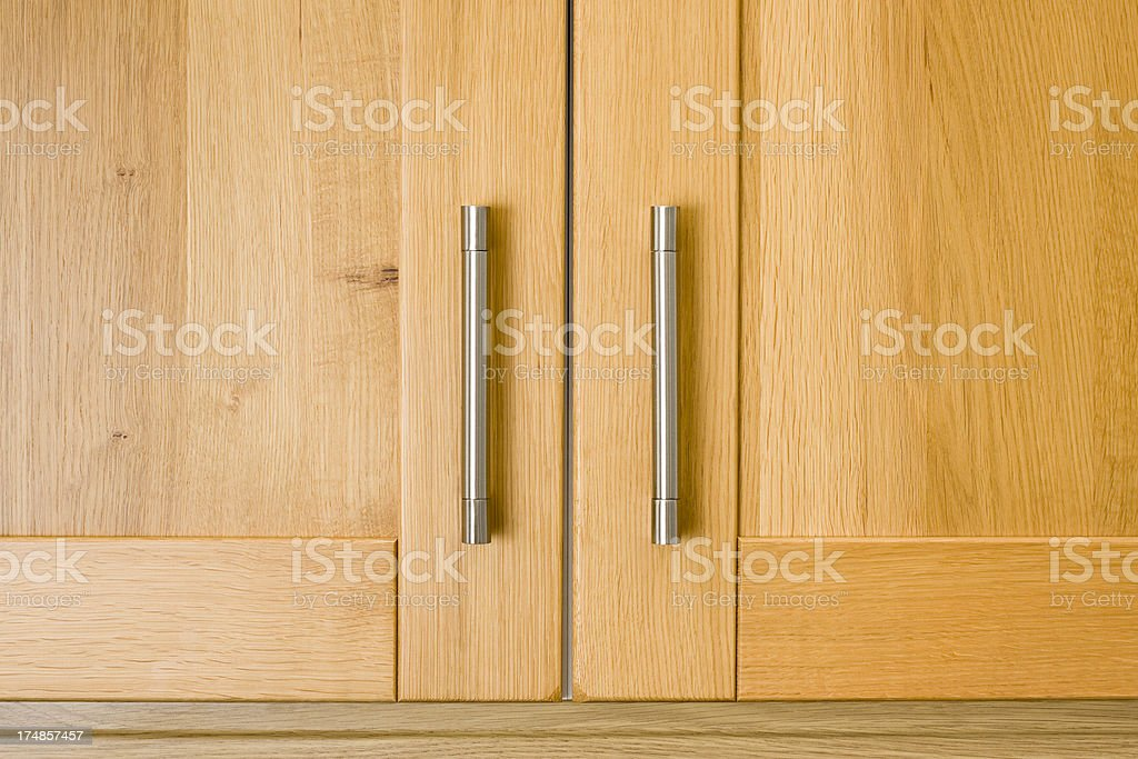 Kitchen unit handles detail stock photo