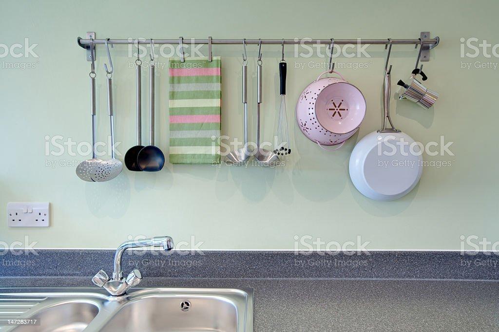 Kitchen utensil rack royalty-free stock photo