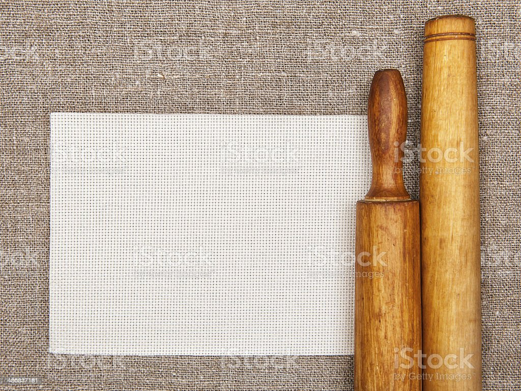 Kitchen utensils and canvas on the burlap royalty-free stock photo