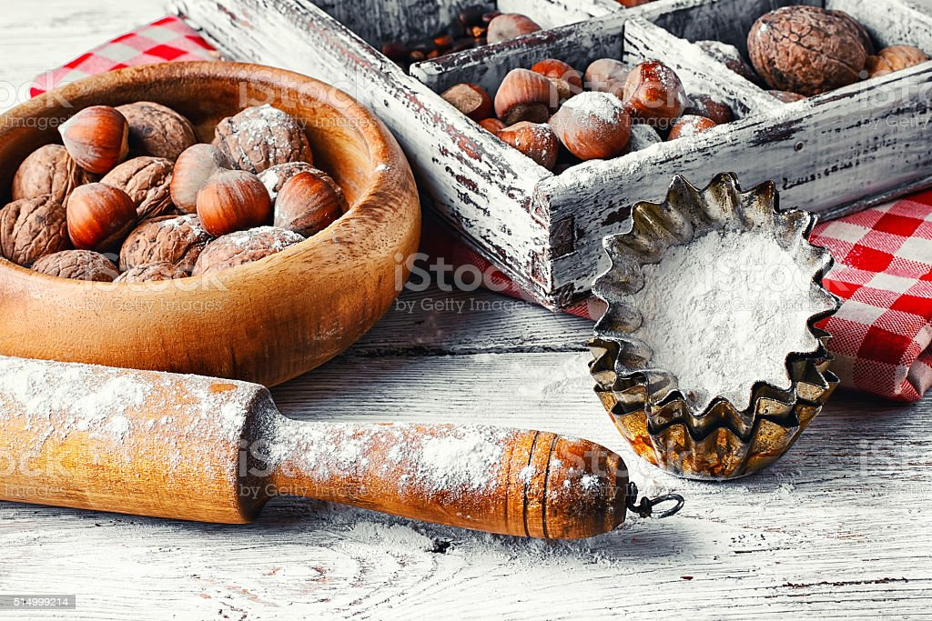 kitchen utensils and nuts stock photo