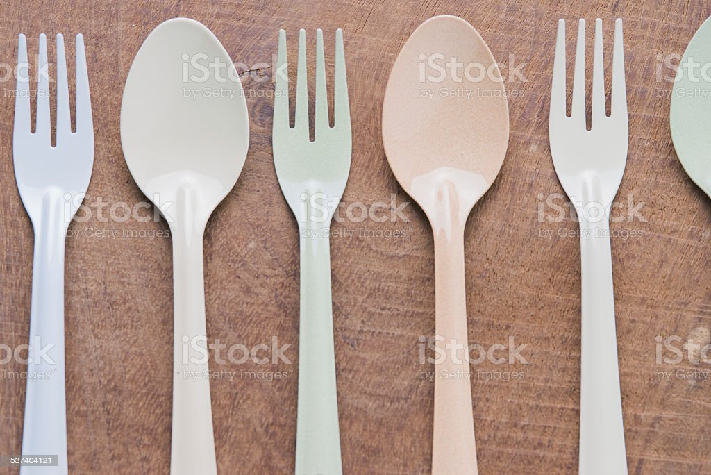 Kitchen utensils fork and spoon stock photo