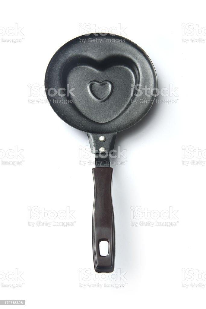 Kitchen Utensils: Frying Pan Heart Shaped royalty-free stock photo