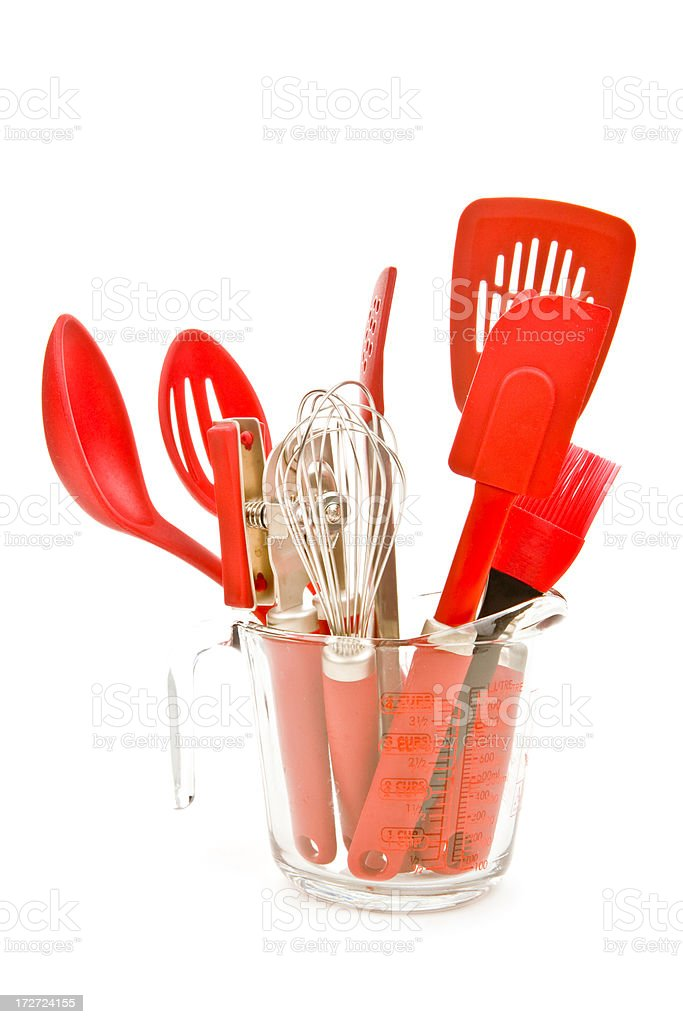 kitchen utensils in a measuring cup royalty-free stock photo