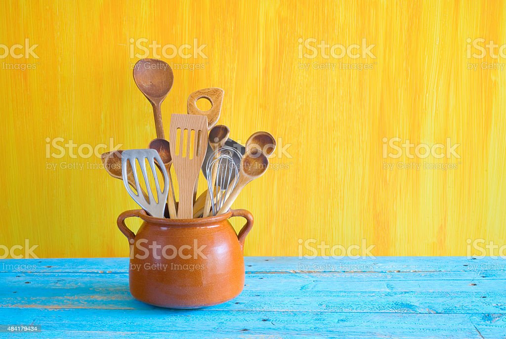 kitchen utensils in an old pot, stock photo