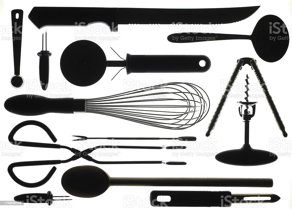 Kitchen Utensils in Silhouette royalty-free stock photo