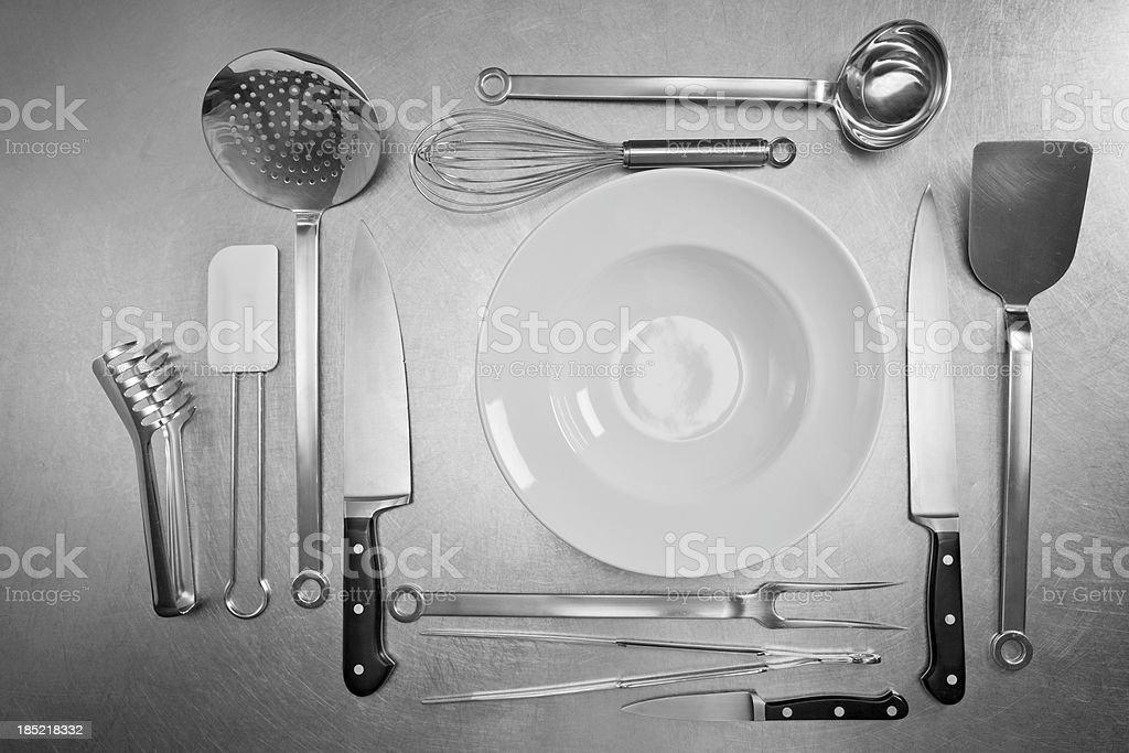 Kitchen Utensils on Stainless Steel Background stock photo