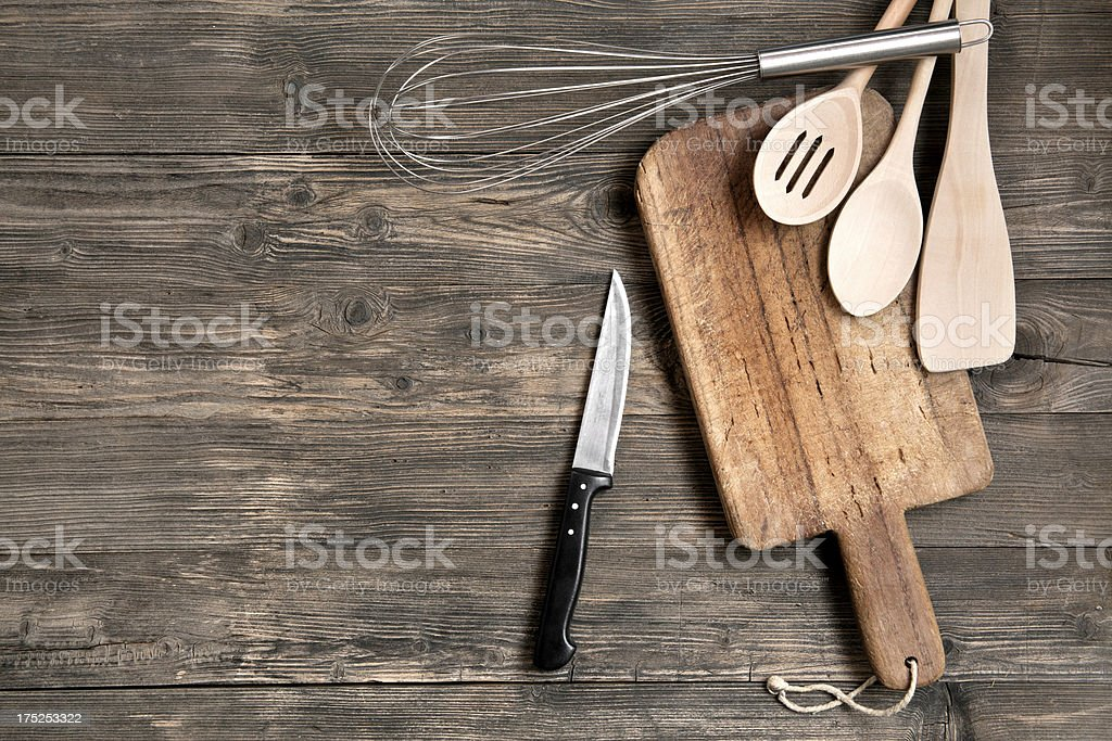 Kitchen utensils on wooden table royalty-free stock photo
