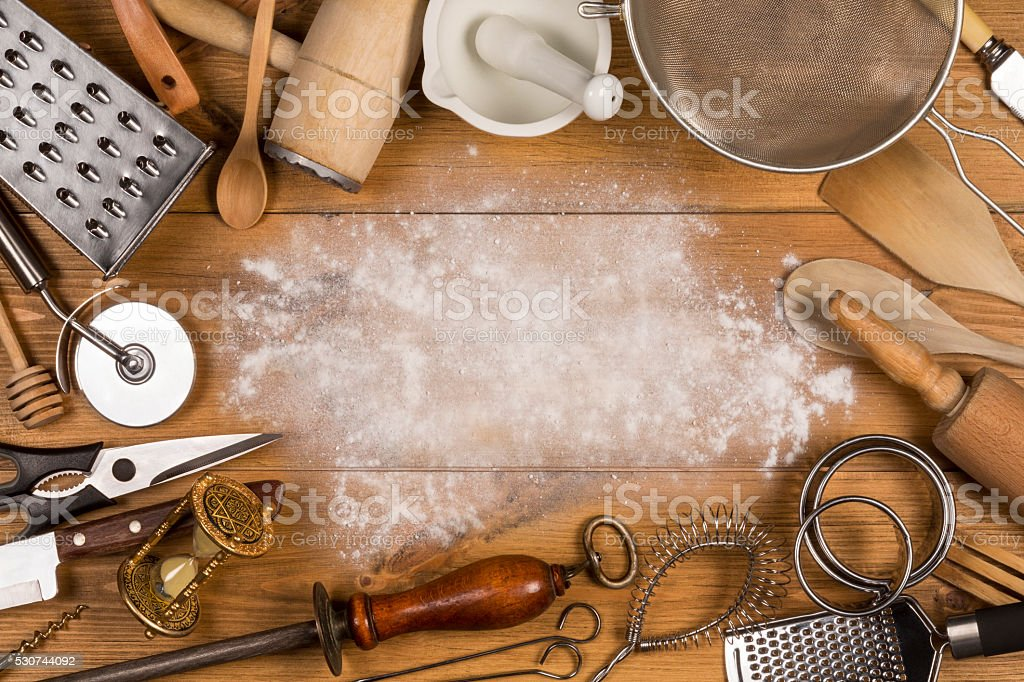 Kitchen Utensils - Space for Text stock photo