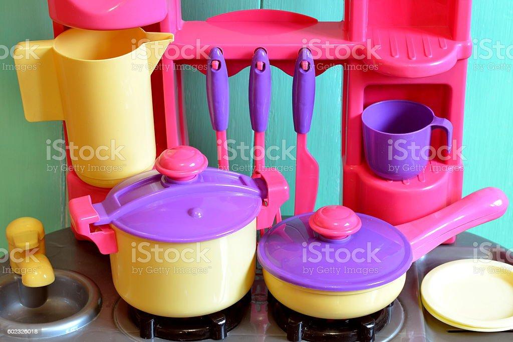 Kitchen utensils toys for kids stock photo