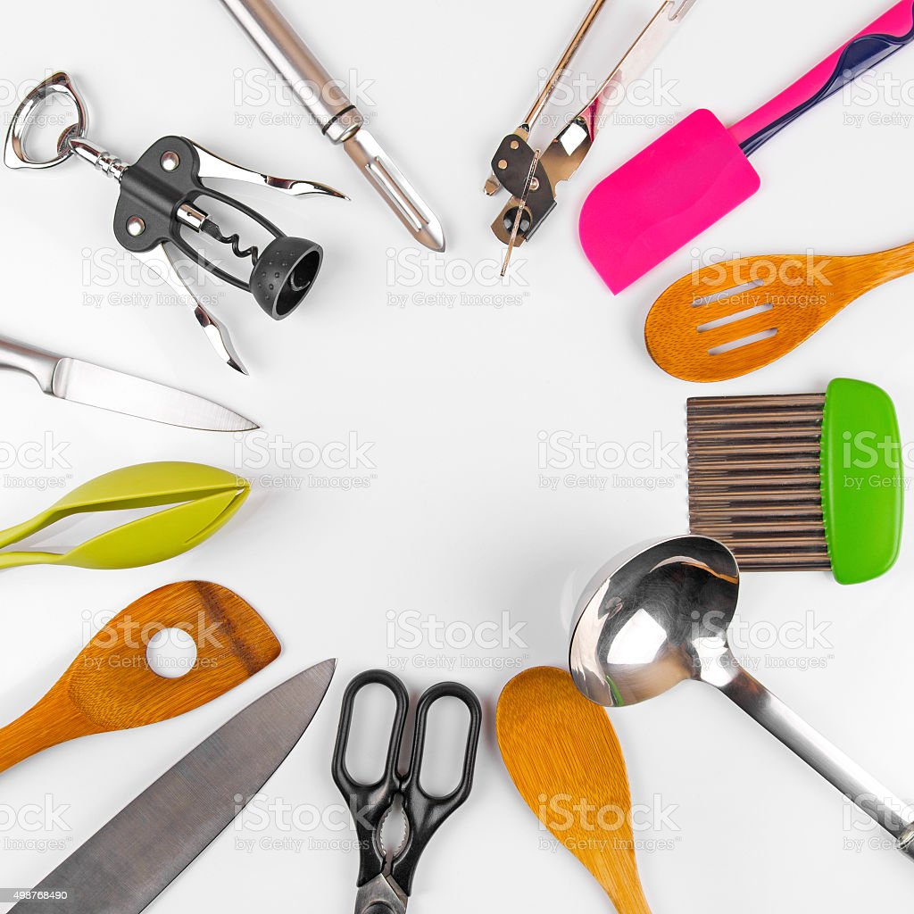 kitchen utensils with blank space in the middle stock photo