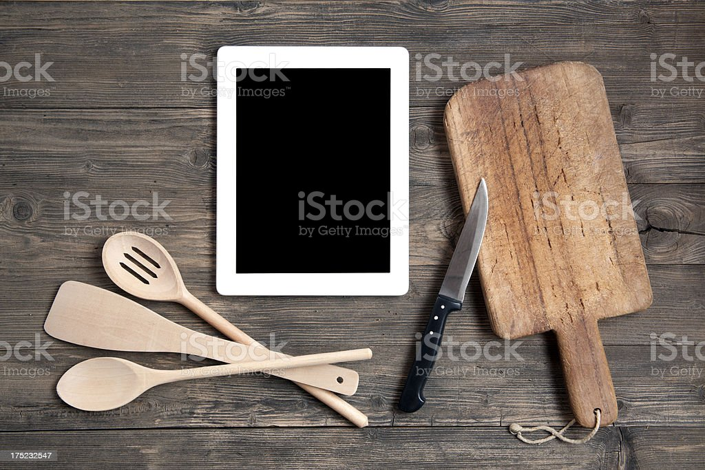 Kitchen utensils with digital tablet royalty-free stock photo