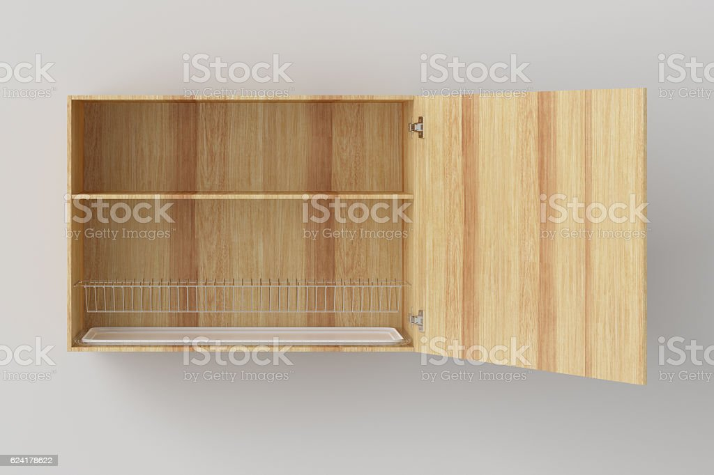 Kitchen wall cabinet isolated on white background. Include clipp stock photo