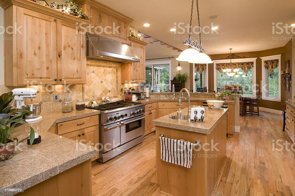 Kitchen with knotted wood cabinets royalty-free stock photo