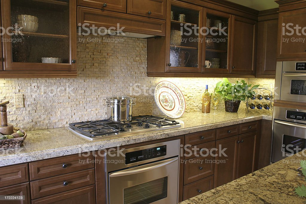 Kitchen with stainless appliances royalty-free stock photo