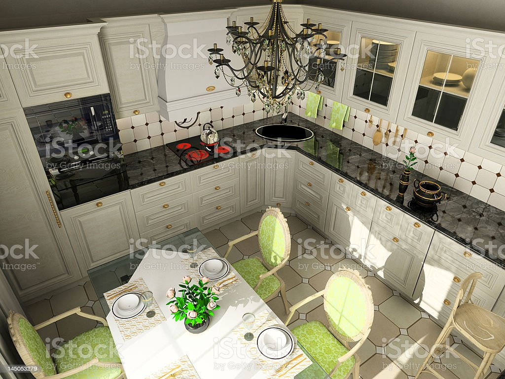 kitchen with the classic furniture royalty-free stock photo