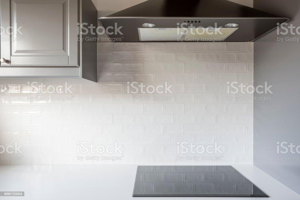 Kitchen with white brick tiles stock photo