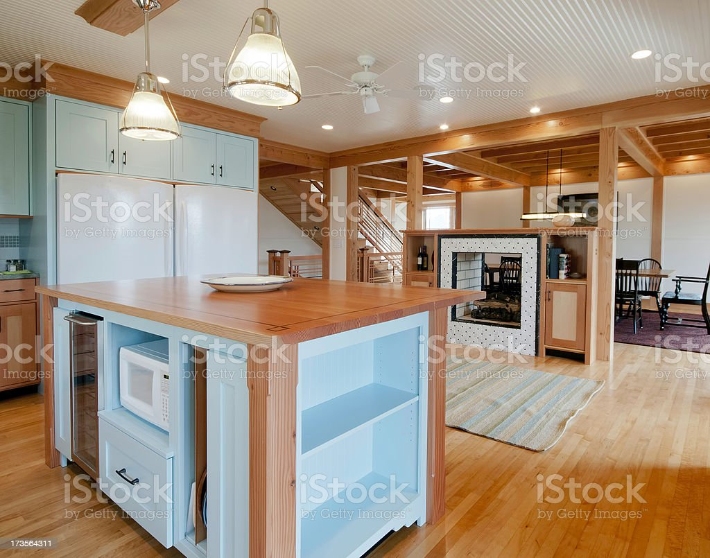 Kitchen with Wood Surfaced Island royalty-free stock photo