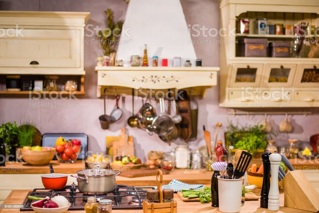 Kitchen worktop stock photo