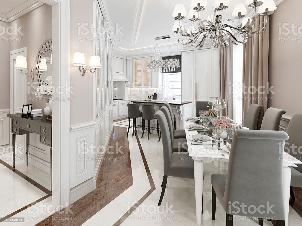 Kitchen-dining room Art Deco style stock photo