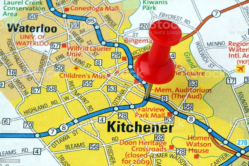 Kitchener Ontario Canada On A Map stock photo 176020803   iStock