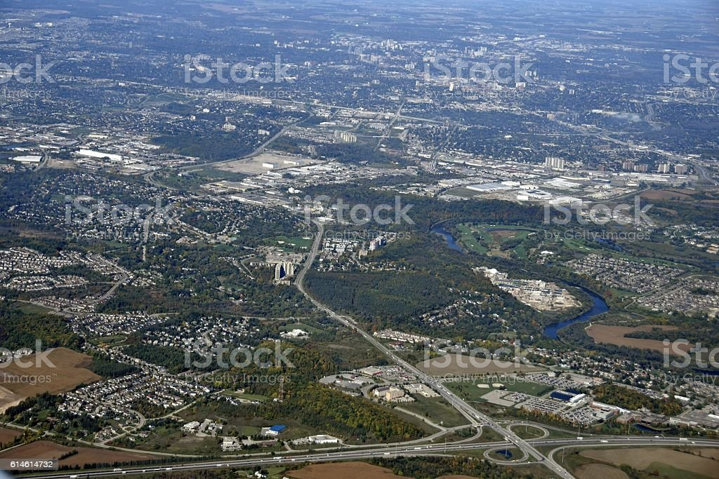 Kitchener Waterloo aerial stock photo