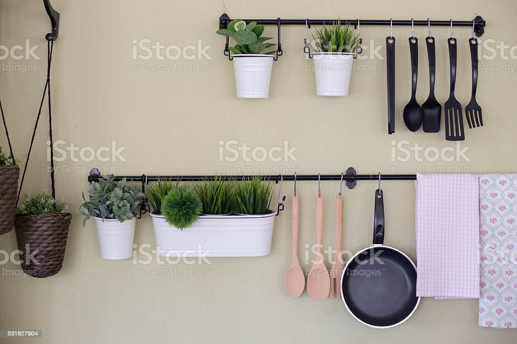 kitchenware hang stock photo