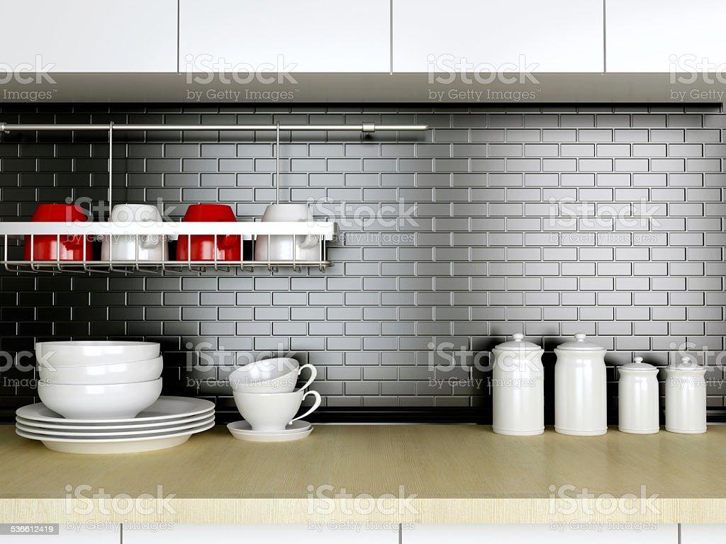 Kitchenware on the worktop. stock photo
