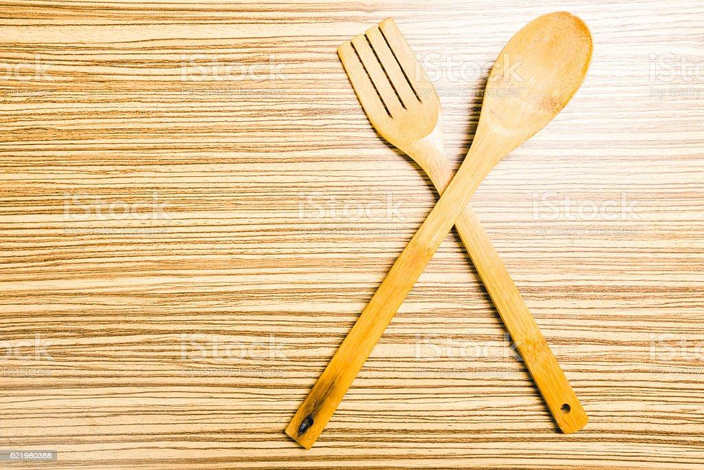 kitchenware on wooden background stock photo