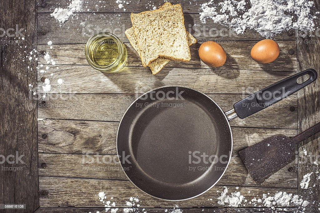Kitchenware set for Egg Bread stock photo